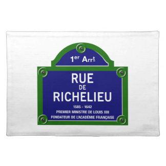 Rue de Richelieu, Paris Street Sign Placemat