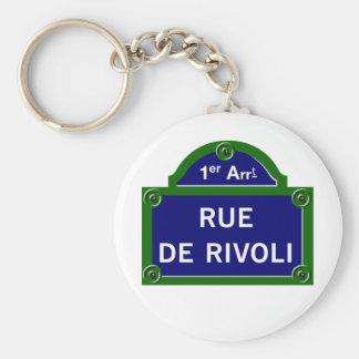 Rue de Rivoli, Paris Street Sign Basic Round Button Key Ring