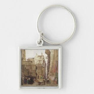 Rue des Pretes, St. Germain L'Auxerrois, Paris Silver-Colored Square Key Ring