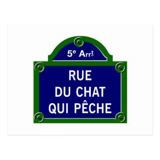 Rue du Chat qui Peche, Paris Street Sign Postcard