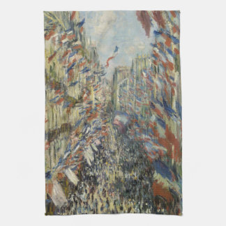 Rue Montorgueil in Paris by Claude Monet Tea Towel
