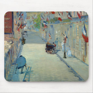 Rue Mosnier w/ Flags Manet Impressionist Painting Mouse Pad