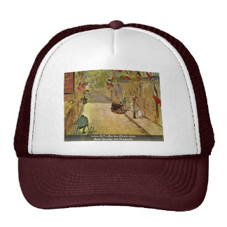 Rue Mosnier With Flags By Manet Edouard Trucker Hat