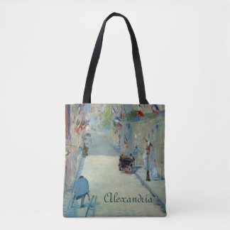 Rue Mosnier with Flags Manet Fine Art Painting Tote Bag