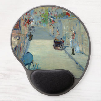 Rue Mosnier with Flags Manet Painting Mousepad Gel Mouse Pad