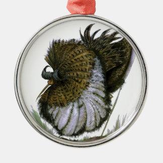 Ruff bird, tony fernandes Silver-Colored round decoration