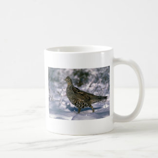 Ruffed grouse standing in snowy woods mugs
