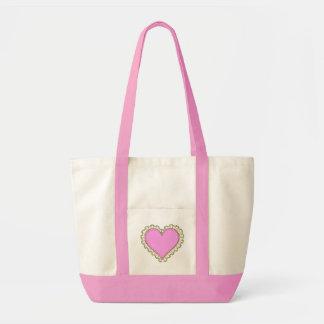 ruffle heart impulse tote bag
