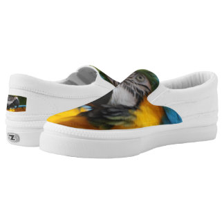 Ruffled Blue and Gold Macaw Slip-On Shoes