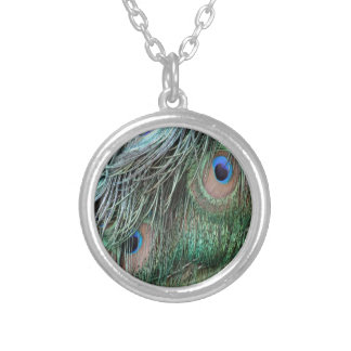 Ruffled Peacock Feathers Silver Plated Necklace