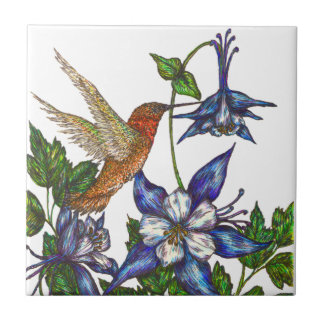 Rufous Hummingbird and Columbine Tile