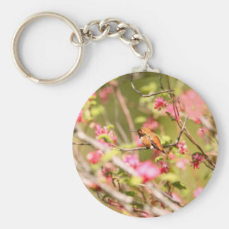 Rufous Hummingbird and Flowers Basic Round Button Key Ring