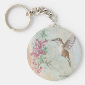 Rufous Hummingbird Basic Round Button Key Ring