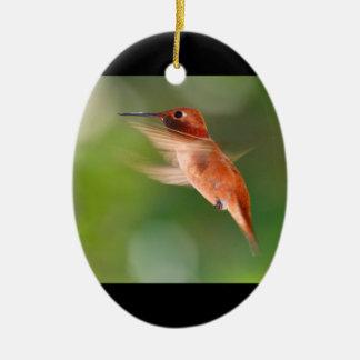 rufous hummingbird ceramic oval decoration