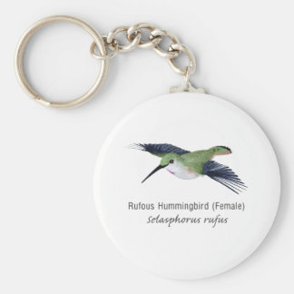 Rufous Hummingbird female with Name Basic Round Button Key Ring