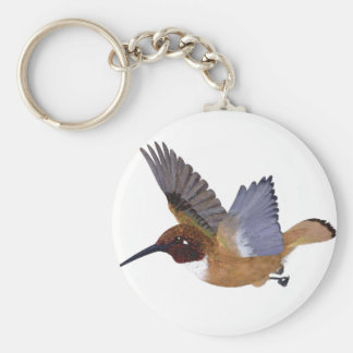 Rufous Hummingbird Male Basic Round Button Key Ring