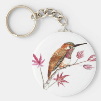 Rufous Hummingbird perching Basic Round Button Key Ring