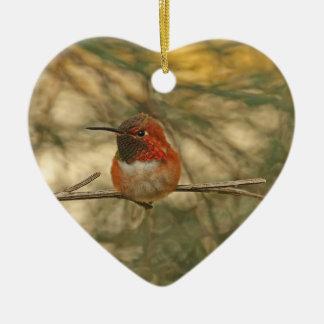 Rufous Hummingbird Sitting Ceramic Heart Decoration