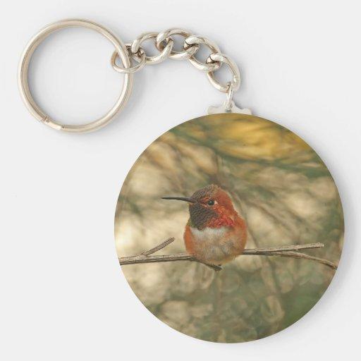 Rufous Hummingbird Sitting Keychain