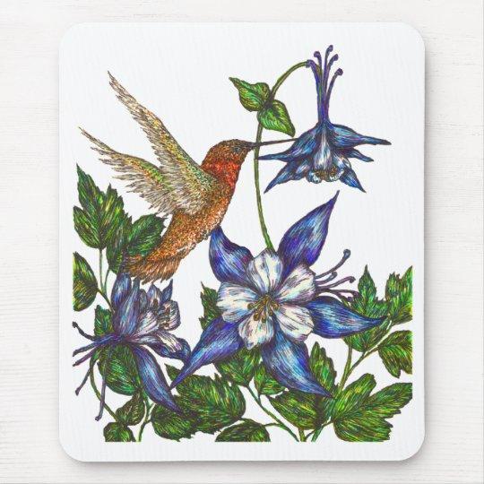 Rufous Hummingbird with Columbine Mouse Mat