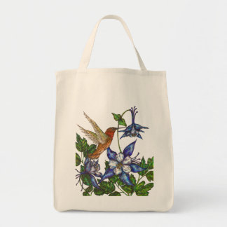 Rufous Hummingbird with Columbines Grocery Tote Bag
