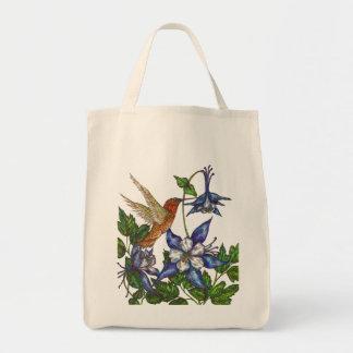 Rufous Hummingbird with Columbines Grocery Tote Bag