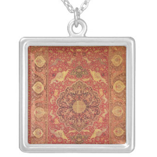 Rug decorated with scenes of fighting animals silver plated necklace