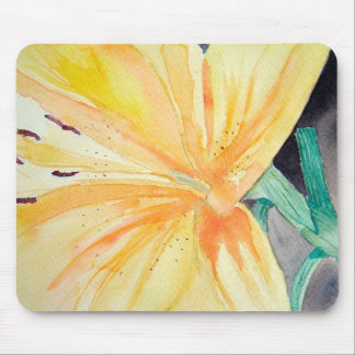 Rug mouse of yellow iris in watercolor mouse mat