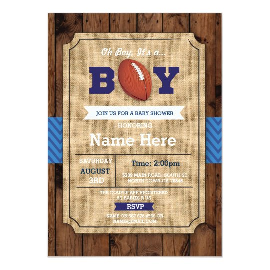 Rugby Baby Shower American football Boy Invite