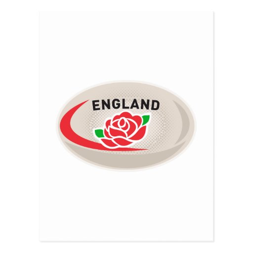 Rugby Ball England English Rose Postcard