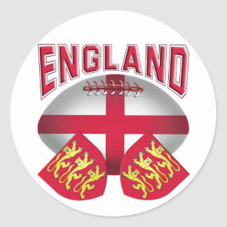 Rugby Ball Flag of England Round Sticker