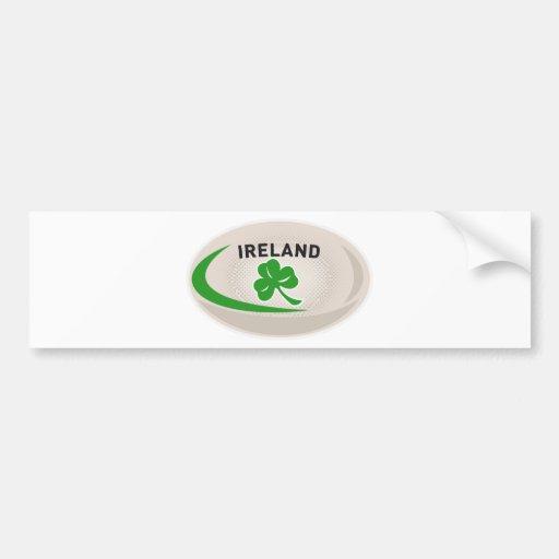 Rugby Ball Ireland Shamrock Bumper Sticker