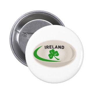 Rugby Ball Ireland Shamrock Pinback Buttons