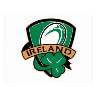 rugby ball ireland shield shamrock postcard