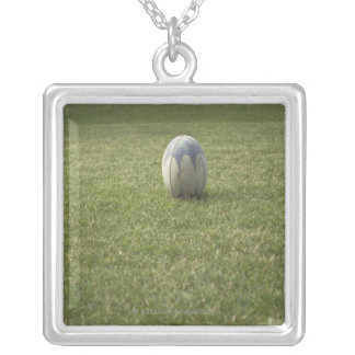 Rugby ball silver plated necklace