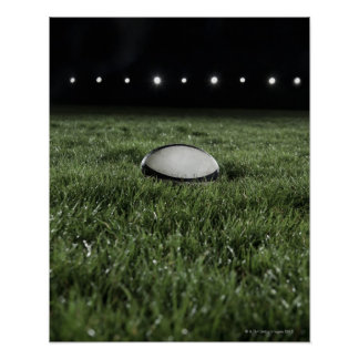 Rugby ball sitting on the grass pitch of a poster