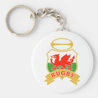 rugby ball wales red welsh dragon shield key chain