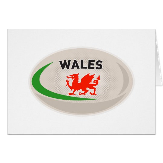 Rugby Ball Wales Welsh dragon Card