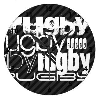Rugby; Black & Dark Gray Stripes Clocks