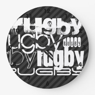 Rugby; Black & Dark Gray Stripes Large Clock
