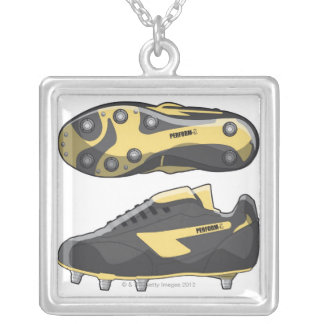 Rugby boots silver plated necklace