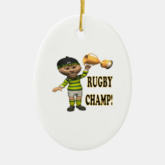 Rugby Champ Ceramic Oval Decoration