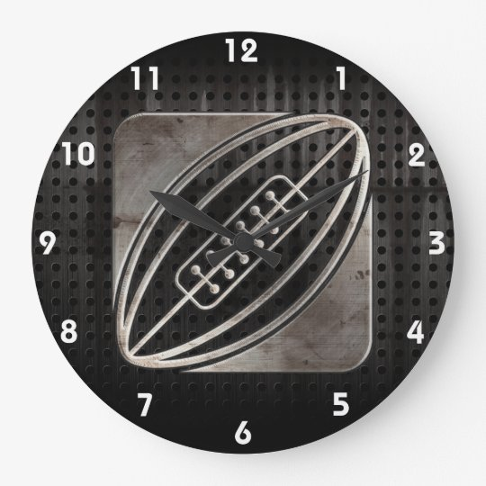 Rugby; Cool Black Large Clock