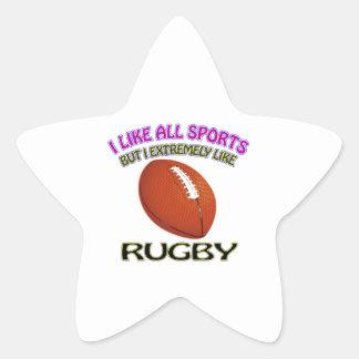 Rugby designs star sticker