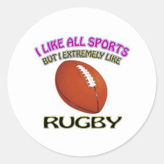 Rugby designs round sticker