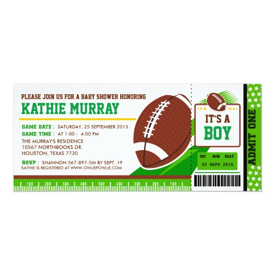 Rugby FootBall Ticket Pass Baby Shower Invitation