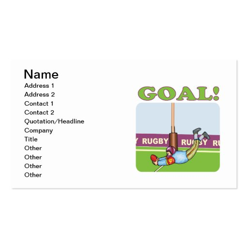 Rugby Goal 2 Business Cards