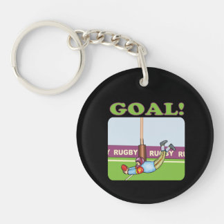 Rugby Goal 2 Single-Sided Round Acrylic Key Ring