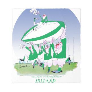 rugby irish cheers, tony fernandes notepad