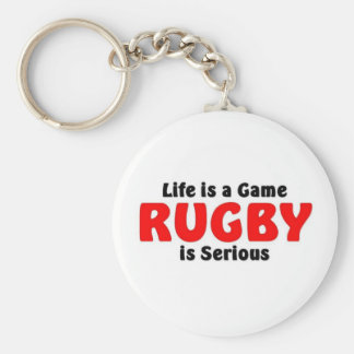 Rugby is serious basic round button key ring
